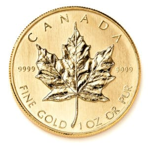 1/4 oz Gold Canadian Maple Leaf Coins Reverse