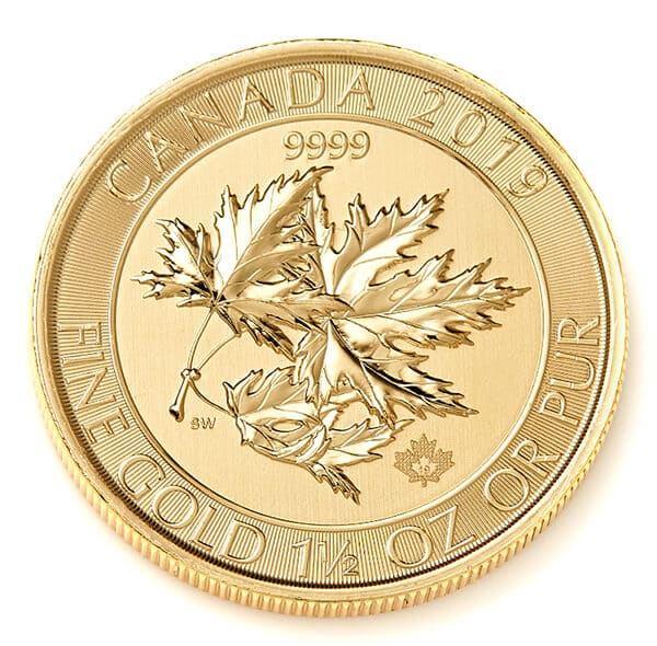 Gold Canadian Maple Leaf, The MegaLeaf Coin Obverse Reverse